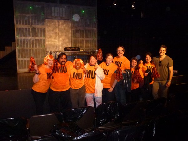 "Some of the diehard fans (in Miskatonic University Cheer Squad t-shirts) of ""Re-Animator The Musical"" after a preview performance. Actor Chris McKenna (the one not in an orange shirt) plays Dan in the play."