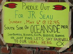 A sign outside Junior Seau's house on the Strand in Oceanside.