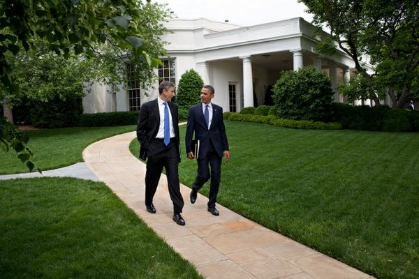 President Barack Obama and Education Secretary Arne Duncan walk from the Oval Office to the motorcade for the trip to Washington-Lee High School in Arlington, Virginia, May 4, 2012