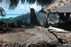 Rising tides crash against Takuu, a tiny island just north east of Bougainvil...