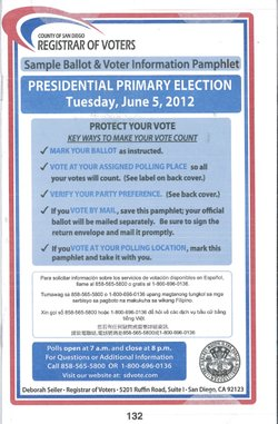 Sample ballot for the June 5 primary election in San Diego County.