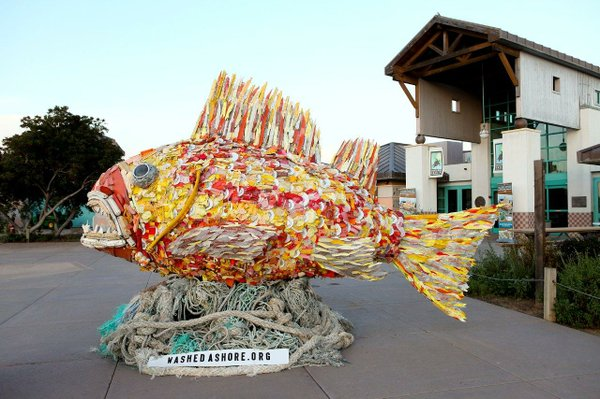 Henry the Fish is one of a group of sculptures made from plastic debris picked up at beaches.