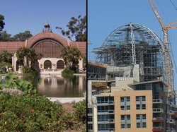 A comparison of the botanical gardens dome and the dome being built at the New Central Library.