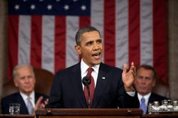 President Barack Obama delivers the State of the Union address in the House C...
