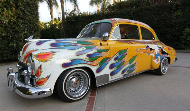 """Our Family Car,"" by artist Gilbert ""Magu"" Lujan, is one of three lowrider cars on view at the Oceanside Museum of Art's exhibition ""Cruisin' Califas: The Art of Lowriding."""