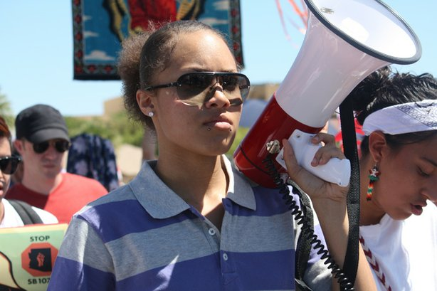 Mexican American/Raza studies student Mariah at an immigrants rights rally in Phoenix, Arizona.