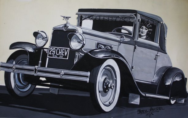 """ '29 Chevy"" by Teen Angel is on view as part of the Oceanside Museum of Art's exhibition, ""Cruisin' Califas: The Art of Lowriding."""