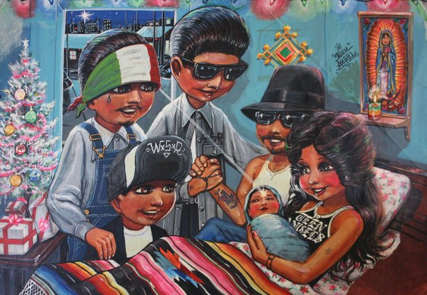 """Familia"" by Teen Angel is part of the exhibition ""Cruisin' Califas: The Art of Lowriding"" at the Oceanside Museum of Art."