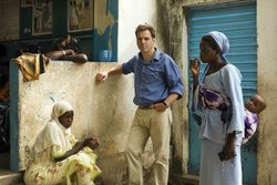 Niall Ferguson at a medical center in Africa.