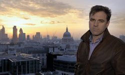 Historian Niall Ferguson with view of the London skyline.
