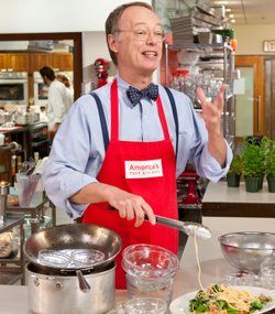 AMERICA'S TEST KITCHEN host Christopher Kimball is in the test kitchen cooking pasta.