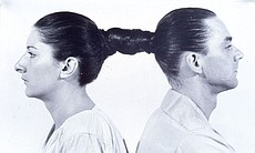 "Marina Abramović and Ulay. ""Relation in Time,"" 1977. Performance, 17 hours. Studio G7, Bologna."
