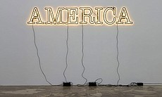 "Glenn Ligon. ""Untitled (America),"" 2008. Neon and paint; 24 x 168 inches. Rub..."