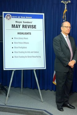 San Diego Chief Operating Officer Jay Goldstone helps present the mayor's May revise to the city budget.