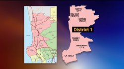 San Diego City Council District 1 boundaries.  The newly redrawn council dist...