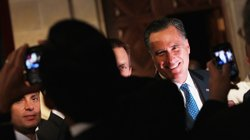 Mitt Romney greets guests after addressing the Latino Coalition's 2012 Small ...