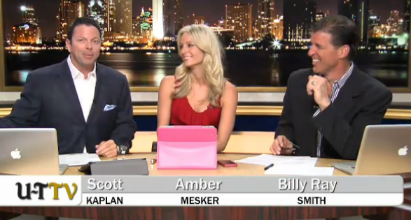 UT-TV hosts Scott Kaplan, Amber Mesker and Billy Ray Smith in their first broadcast.