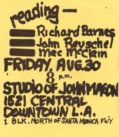 Invitation to one of Malcolm McClain's readings at the studio of ceramic artist John Mason, circa 1974