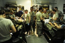 Soldiers receive treatment for IED injuries