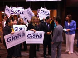 Todd Gloria enters golden hall with his supporters. Gloria was running unpoli...