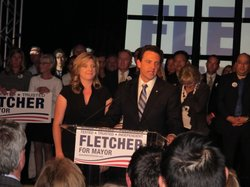 Former State Assemblyman Nathan Fletcher and his wife Mindy speak to reporter...