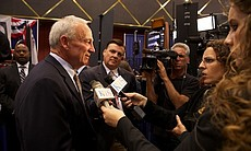 Mayor Jerry Sanders talks to KPBS reporters at ... (17183)