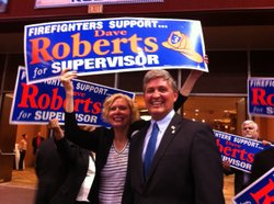 Supervisor Pam Slater-Price with Democratic candidate Dave Roberts who will face off with Steve Danon in November for the 3rd district.