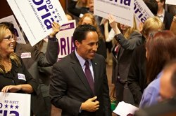 Todd Gloria surrounded by supporters at Golden Hall on June 5, 2012.