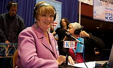 Marti Emerald talks to KPBS reporters at Golden...