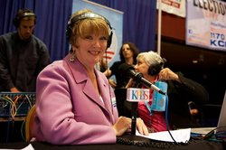 Marti Emerald talks to KPBS reporters at Golden Hall on June 5, 2012.
