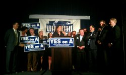 Taxpayer Association President Lani Lutar celebrates Proposition A's victory ...