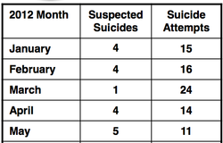 USMC SUICIDE MONTHLY UPDATE for 2012