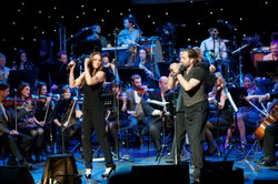 Singer Melanie C joins Alfie Boe on stage at the Royal Festival Hall, London.