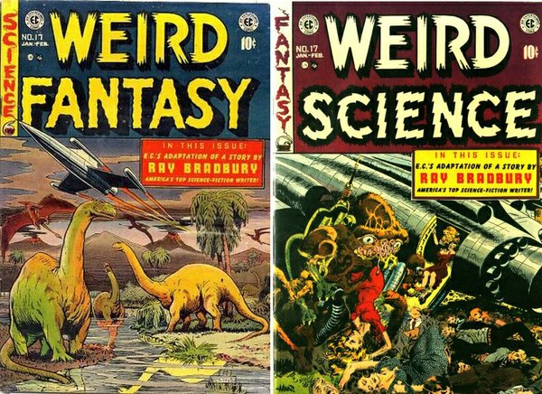 Covers from comics that Ray Bradbury contributed to.