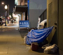 A makeshift homeless shelter in downtown San Diego.