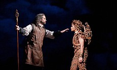 "David Daniels as Prospero and Danielle de Niese as Ariel from Shakespare's ""The Tempest."""
