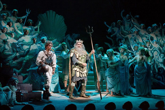 "Danielle de Niese as Ariel and Plácido Domingo as Neptune in ""The Enchanted I..."