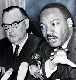 Historical photo of Pat Brown and Martin Luther King, Jr.