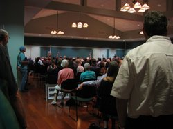 People gather at a community meeting in San Juan Capistrano on June 18, 2012.