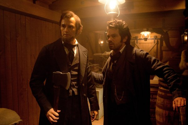 "Abe Lincoln (Benjamin Walker) and his mentor Henry (Dominic Cooper) in the historical mash up ""Abraham Lincoln: Vampire Hunter."""