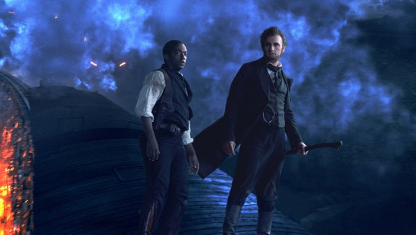 "Looking presidential... Anthony Mackie and Benjamin Walker in ""Abraham Lincoln: Vampire Hunter."""