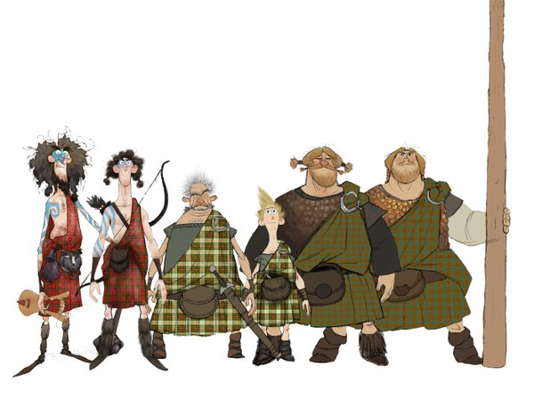 "The not too impressive men of ""Brave,"" mercifully with their kilts on."