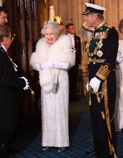 Queen Elizabeth II and Prince Philip, Duke of Edinburgh, arrive at the House of Lords for the state opening of Parliament.