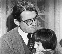 "Gregory Peck and Mary Badham in ""To Kill a Mockingbird"" (1962), directed by Robert Mulligan."
