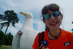 Babs Bixby, the Duck Lady and curator, at the Big Duck on Long Island, New Yo...
