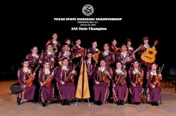 Group photo of winners of the Texas State Mariachi Championship, Edgewood ISD...