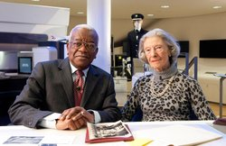 Sir Trevor McDonald with former BOAC stewardess, Diana Archibald, who accompanied Princess Elizabeth to Kenya in January 1952 and brought her back, as Queen, after the King's death on 6th February.