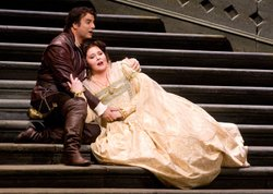 "Angela Meade as Elvira and Marcello Giordani in the title role of Verdi's ""Ernani."""