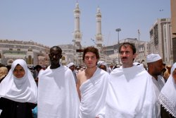 Young Muslims at al-Haram Mosque of Mecca, Saudi Arabia.