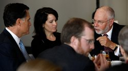 Paul Singer (right) speaks with Mitt Romney during a forum of the Foreign Pol...